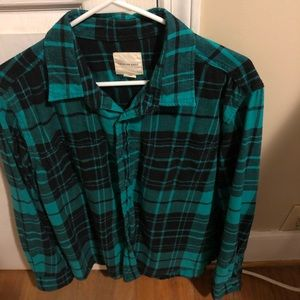 American eagle button up plaid long sleeve